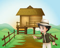 A boy with a hat standing near the nipa hut illustration of Stock Photography