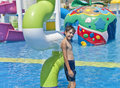 The boy is have fun in the aqua park turkey Royalty Free Stock Photo