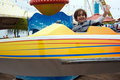 Boy having fun at an amusement park Stock Photography
