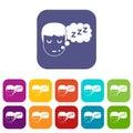 Boy head with speech bubble icons set flat
