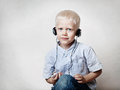 Boy with a headphones Stock Photo