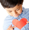 Boy with a heart Royalty Free Stock Photo