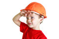Boy in a helmet looks into the distance Royalty Free Stock Photo