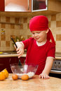 Boy helping at kitchen with baking  pie Royalty Free Stock Photos