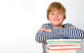 Boy with his books smiling Stock Images