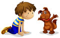A boy and his brown pet illustration of on white background Royalty Free Stock Image