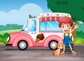 A boy and his cat near a pink bus illustration of Stock Photography