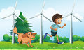 A boy and his dog near the three windmills illustration of Royalty Free Stock Photos