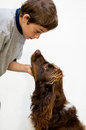 Boy and his dog young talking to pet against a white background Stock Photos