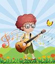 A boy with his guitar at the hills illustration of Royalty Free Stock Image