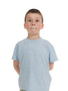 Boy with his mouth tightly closed Stock Photo