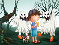 A boy and his pet at the graveyard with ghosts illustration of Royalty Free Stock Photography