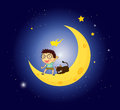 A boy and his pet at the moon illustration of Royalty Free Stock Images