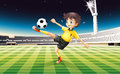 A boy in his yellow uniform playing soccer at the field illustration of Royalty Free Stock Photography