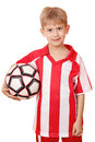 Boy hold soccer ball on white background Royalty Free Stock Photography