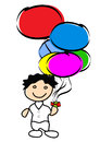Boy holding balloons a many Royalty Free Stock Photo