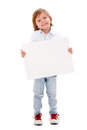 Boy holding a banner happy and smiling isolated over white background Royalty Free Stock Images