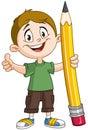 Boy holding big pencil Royalty Free Stock Photo