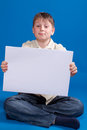 Boy holding a blank Stock Photos