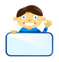Boy holding blank sign vector illustration of a waving while a board Royalty Free Stock Image