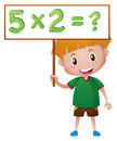 Boy holding board with math queation