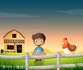 A boy holding an egg tray near the sleeping chicken illustration of Royalty Free Stock Photos
