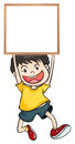 A boy holding an empty framed banner illustration of on white background Stock Photography