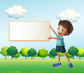 A boy holding an empty framed board illustration of Stock Photos