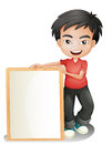 A boy holding an empty framed board illustration of on white background Stock Image