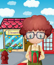 A boy holding a gift in front of the flower shop illustration Stock Photo