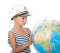 Boy holding a globe Royalty Free Stock Photography