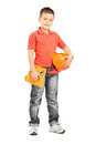 Boy holding a helmet and wearing a tool belt full length portrait of little protective isolated on white background Stock Photos