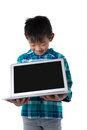 Boy holding laptop against white background Royalty Free Stock Photo