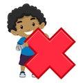 Boy holding Multiplication Symbol Royalty Free Stock Photo