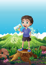 A boy holding a picture standing above a stump illustration of Royalty Free Stock Image