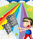 A boy holding a racing flag in the racing field illustration of Royalty Free Stock Photo