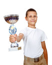 Boy holding sport trophy Stock Photography