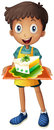 A boy holding a tray with a slice of cake illustration on white background Stock Photos