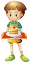 A boy holding a tray with a slice of cake in a plate illustration on white background Royalty Free Stock Photography