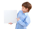 Boy holding a white board Royalty Free Stock Photos