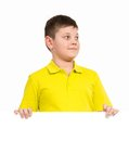 Boy holding a white placard place for text Royalty Free Stock Photography