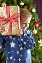 Boy Holding Wrapped Present In Front Of Tree Stock Image