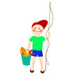 A boy holds a bucket of fish and fishing rod. Vector image.