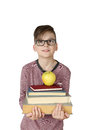Boy holds stack of books Royalty Free Stock Photo