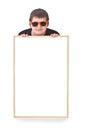 Boy and hollow frame Stock Photos