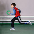 Boy at the IAAF Kid's Athletics competition Stock Image