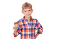 Boy with ice cream happy Royalty Free Stock Images