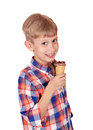 Boy with ice cream on white happy Stock Photos
