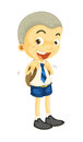 A boy illustrtion of in school uniform on white Royalty Free Stock Photo