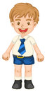 Boy illustrtion of a in school uniform on white Royalty Free Stock Photography